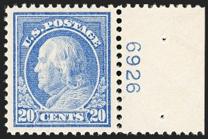 Sale Number 1199, Lot Number 1465, 1912-15 Washington-Franklin Issue (Scott 405-461)20c Ultramarine (419), 20c Ultramarine (419)