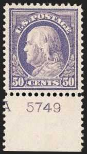 Sale Number 1199, Lot Number 1467, 1912-15 Washington-Franklin Issue (Scott 405-461)50c Violet (422), 50c Violet (422)