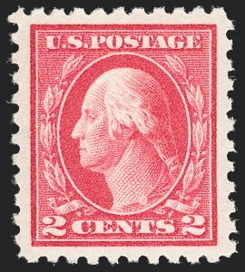 Sale Number 1199, Lot Number 1469, 1912-15 Washington-Franklin Issue (Scott 405-461)2c Rose Red, Ty. I, Pink Back (425 var), 2c Rose Red, Ty. I, Pink Back (425 var)