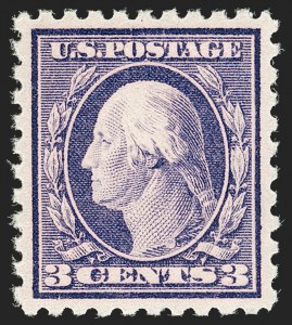 Sale Number 1199, Lot Number 1470, 1912-15 Washington-Franklin Issue (Scott 405-461)3c Deep Violet, Pink Back (426 var), 3c Deep Violet, Pink Back (426 var)
