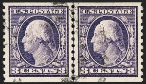Sale Number 1199, Lot Number 1475, 1912-15 Washington-Franklin Issue (Scott 405-461)3c Violet, Coil (445), 3c Violet, Coil (445)