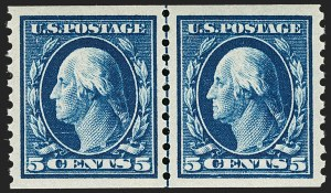 Sale Number 1199, Lot Number 1478, 1912-15 Washington-Franklin Issue (Scott 405-461)5c Blue, Coil (447), 5c Blue, Coil (447)