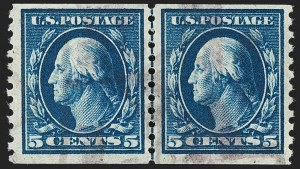 Sale Number 1199, Lot Number 1480, 1912-15 Washington-Franklin Issue (Scott 405-461)5c Blue, Coil (447), 5c Blue, Coil (447)