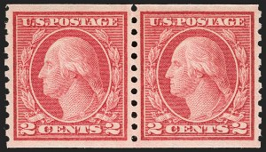 Sale Number 1199, Lot Number 1482, 1912-15 Washington-Franklin Issue (Scott 405-461)2c Red, Ty. II, Coil (454), 2c Red, Ty. II, Coil (454)