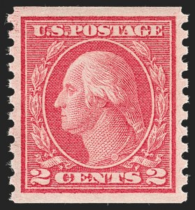 Sale Number 1199, Lot Number 1483, 1912-15 Washington-Franklin Issue (Scott 405-461)2c Red, Ty. II, Coil (454), 2c Red, Ty. II, Coil (454)