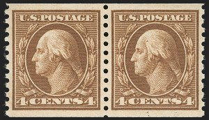 Sale Number 1199, Lot Number 1484, 1912-15 Washington-Franklin Issue (Scott 405-461)4c Brown, Coil (457), 4c Brown, Coil (457)