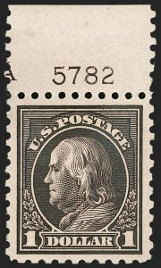 Sale Number 1199, Lot Number 1488, 1912-15 Washington-Franklin Issue (Scott 405-461)$1.00 Violet Black (460), $1.00 Violet Black (460)