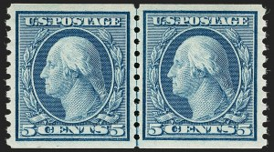 Sale Number 1199, Lot Number 1496, 1916-17 Issues (Scott 462-518)5c Blue, Coil (496), 5c Blue, Coil (496)