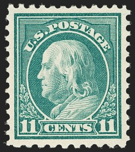 Sale Number 1199, Lot Number 1511, Per 10 on One Side Rarities11c Light Green, Perf 10 at Bottom (511a), 11c Light Green, Perf 10 at Bottom (511a)