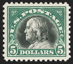 Sale Number 1199, Lot Number 1520, 1917-20 Issues (Scott 519-547)$5.00 Deep Green & Black (524), $5.00 Deep Green & Black (524)