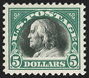 Sale Number 1199, Lot Number 1521, 1917-20 Issues (Scott 519-547)$5.00 Deep Green & Black (524), $5.00 Deep Green & Black (524)