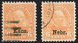 Sale Number 1199, Lot Number 1549, 1922-29 and Later Issues6c Kans., Nebr. Ovpts. (664, 675), 6c Kans., Nebr. Ovpts. (664, 675)