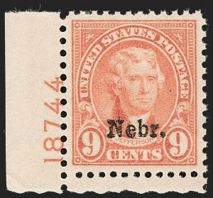 Sale Number 1199, Lot Number 1552, 1922-29 and Later Issues9c Nebr. Ovpt. (678), 9c Nebr. Ovpt. (678)
