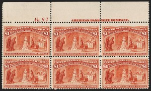 Sale Number 1200, Lot Number 151, Dollar Value Columbians (Scott 241-245)A scarce top plate block of the $1, A scarce top plate block of the $1