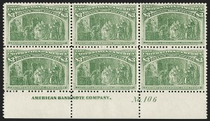 Sale Number 1200, Lot Number 153, Dollar Value Columbians (Scott 241-245)A brilliant and fresh bottom plate block of the $3, A brilliant and fresh bottom plate block of the $3