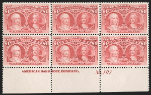 Sale Number 1200, Lot Number 154, Dollar Value Columbians (Scott 241-245)Bottom plate block of the $4, Bottom plate block of the $4