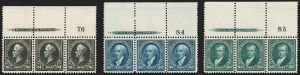 Sale Number 1200, Lot Number 166, 1894-98  Bureau Issue (Scott 246-278)An incomparable matched set of top imprint and plate number strips of the dollar-value 1895 Watermarked Bureau Issue, including a Type I-II combination strip of the $1, An incomparable matched set of top imprint and plate number strips of the dollar-value 1895 Watermarked Bureau Issue, including a Type I-II combination strip of the $1
