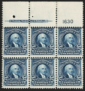 Sale Number 1200, Lot Number 188, 1902-08 Issues (Scott 300-320)The only available top position plate block of the $2, The only available top position plate block of the $2