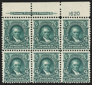 Sale Number 1200, Lot Number 189, 1902-08 Issues (Scott 300-320)One of two plate blocks of the $5, One of two plate blocks of the $5