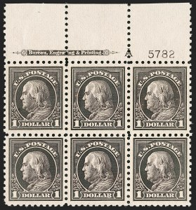 Sale Number 1200, Lot Number 236, 1913-15 Washington-Franklin Issues (Scott 424-461)A rare full top plate block of the $1, A rare full top plate block of the $1