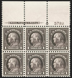 Sale Number 1200, Lot Number 247, 1916-17 Issues (Scott 462-480)One of the finest known full top plate blocks of the $1, One of the finest known full top plate blocks of the $1
