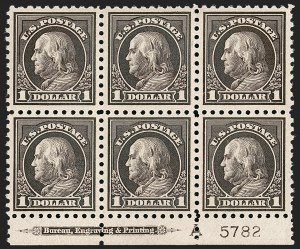 Sale Number 1200, Lot Number 248, 1916-17 Issues (Scott 462-480)A choice bottom plate block of the $1, A choice bottom plate block of the $1