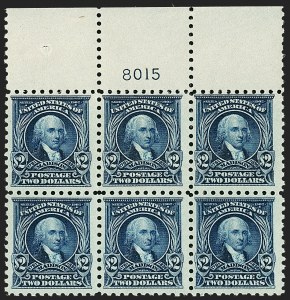 Sale Number 1200, Lot Number 249, 1916-17 Issues (Scott 462-480)Top plate block of the $2, Top plate block of the $2