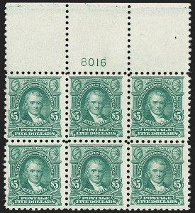 Sale Number 1200, Lot Number 250, 1916-17 Issues (Scott 462-480)Mint Never-Hinged wide top plate block of the $5, Mint Never-Hinged wide top plate block of the $5