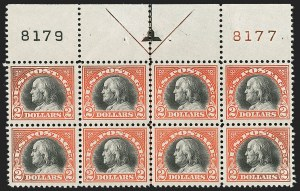 Sale Number 1200, Lot Number 255, 1922-23 Issues (Scott 485-550)Mint Never-Hinged full top plate block of the $2, Mint Never-Hinged full top plate block of the $2