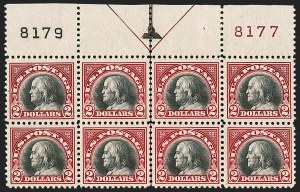 Sale Number 1200, Lot Number 262, 1922-23 Issues (Scott 485-550)Mint Never-Hinged top plate block of the $2, Mint Never-Hinged top plate block of the $2