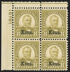 Sale Number 1200, Lot Number 270, 1923-29 Issues, including Kans.-Nebr. Overprints (Scott 573-678),