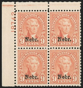 Sale Number 1200, Lot Number 277, 1923-29 Issues, including Kans.-Nebr. Overprints (Scott 573-678),