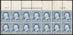 Sale Number 1201, Lot Number 2068, Imprint and Plate Number Blocks1c Dull Blue (219), 1c Dull Blue (219)