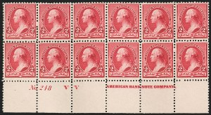 "Sale Number 1201, Lot Number 2069, Imprint and Plate Number Blocks2c Carmine, Cap on Left ""2"" (220a), 2c Carmine, Cap on Left ""2"" (220a)"