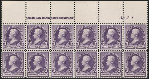 Sale Number 1201, Lot Number 2070, Imprint and Plate Number Blocks3c Purple (221), 3c Purple (221)