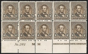 Sale Number 1201, Lot Number 2071, Imprint and Plate Number Blocks4c Dark Brown (222), 4c Dark Brown (222)