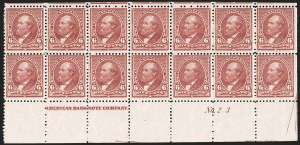 Sale Number 1201, Lot Number 2073, Imprint and Plate Number Blocks6c Brown Red (224), 6c Brown Red (224)