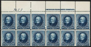 Sale Number 1201, Lot Number 2076, Imprint and Plate Number Blocks15c Indigo (227), 15c Indigo (227)
