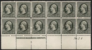 Sale Number 1201, Lot Number 2077, Imprint and Plate Number Blocks30c Black (228), 30c Black (228)