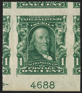 Sale Number 1202, Lot Number 2301, 1906-08 Impeforate Issue (Scott 314-315)1c Blue Green, Imperforate (314), 1c Blue Green, Imperforate (314)