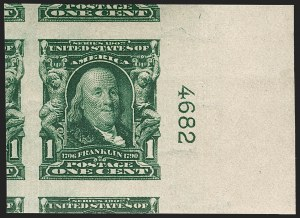 Sale Number 1202, Lot Number 2302, 1906-08 Impeforate Issue (Scott 314-315)1c Blue Green, Imperforate (314), 1c Blue Green, Imperforate (314)