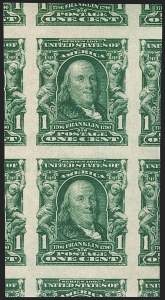 Sale Number 1202, Lot Number 2303, 1906-08 Impeforate Issue (Scott 314-315)1c Blue Green, Imperforate (314), 1c Blue Green, Imperforate (314)