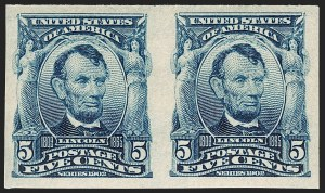 Sale Number 1202, Lot Number 2308, 1906-08 Impeforate Issue (Scott 314-315)5c Blue, Imperforate (315), 5c Blue, Imperforate (315)