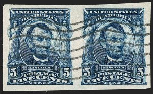 Sale Number 1202, Lot Number 2309, 1906-08 Impeforate Issue (Scott 314-315)5c Blue, Imperforate (315), 5c Blue, Imperforate (315)