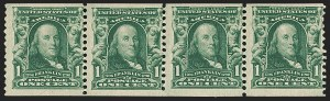 Sale Number 1202, Lot Number 2311, 1908 First Government Coil Issue (Scott 318)1c Blue Green, Coil (318), 1c Blue Green, Coil (318)