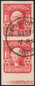 Sale Number 1202, Lot Number 2314, 1906-08 2-Cent Shield Imperforate Issue (Scott 320-320A)2c Carmine, Ty. I, Imperforate (320), 2c Carmine, Ty. I, Imperforate (320)