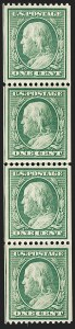 Sale Number 1202, Lot Number 2318, 1908-12 Perf 12 Vertical Coils, Double-Line Watermark (Scott 348-351)1c Green, Coil (348), 1c Green, Coil (348)