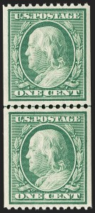 Sale Number 1202, Lot Number 2319, 1908-12 Perf 12 Vertical Coils, Double-Line Watermark (Scott 348-351)1c Green, Coil (348), 1c Green, Coil (348)