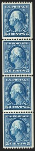 Sale Number 1202, Lot Number 2339, 1908-12 Perf 12 Vertical Coils, Double-Line Watermark (Scott 348-351)5c Blue, Coil (351), 5c Blue, Coil (351)