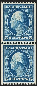 Sale Number 1202, Lot Number 2340, 1908-12 Perf 12 Vertical Coils, Double-Line Watermark (Scott 348-351)5c Blue, Coil (351), 5c Blue, Coil (351)